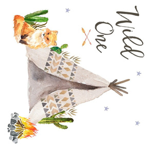 "27""x18"" / MINKY FAT QUARTER / Wild One Fox"