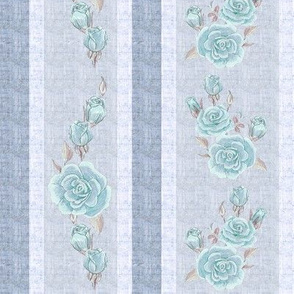 Old Fashioned Rose Stripe Blue