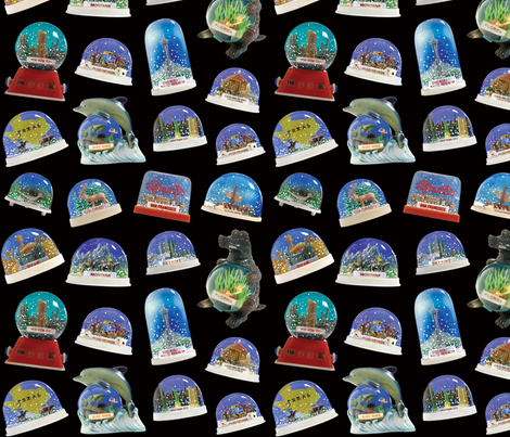 Retro Snowdomes - small black fabric by rawbonestudio on Spoonflower - custom fabric