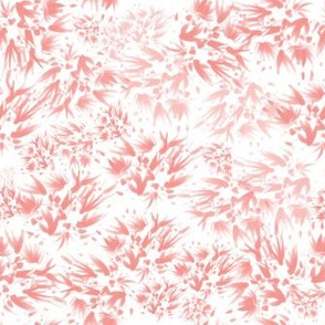 Flowery Veins - Red and Pink on White