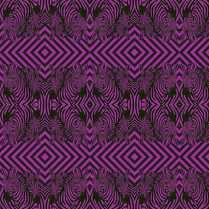 Mirrored African Zebras in magenta  and black  with diamond background