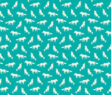 Wolf on turquoise fabric by heleen_vd_thillart on Spoonflower - custom fabric