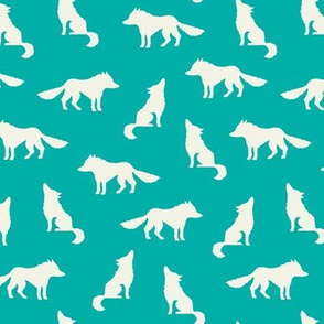 Wolf on teal