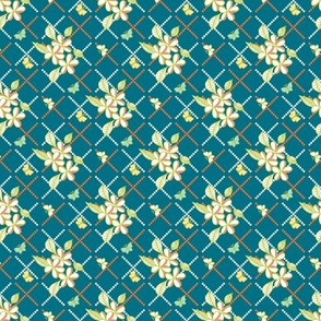 Tropical Trellis - on Teal