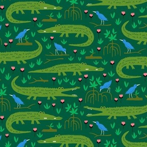 Amazon rainforest crocodile and blue bird (small)