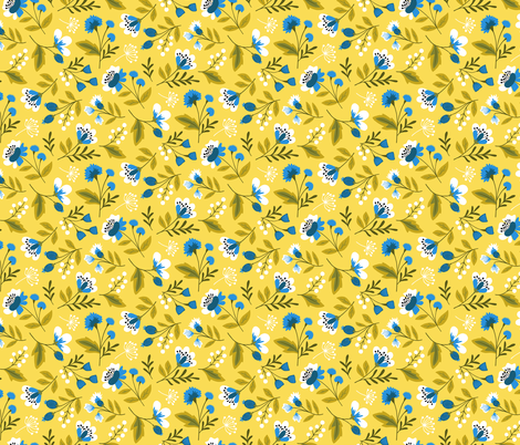 Small colorful spring flowers blue on yellow fabric by heleen_vd_thillart on Spoonflower - custom fabric