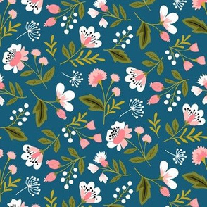 Small colorful spring flowers pink on navy