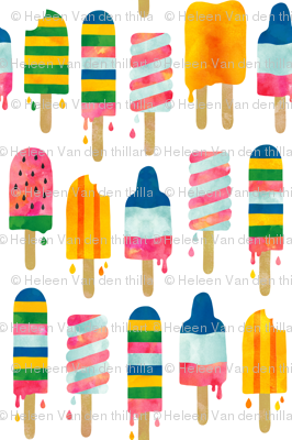 Summer watercolor popsicles