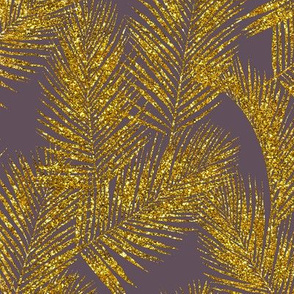 gold glitter palm leaves - mauve, mini
