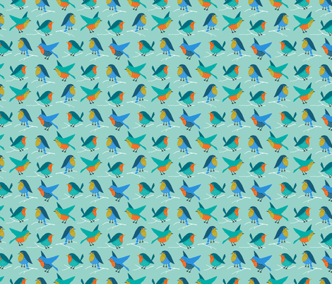 Colorful birds (small) fabric by heleen_vd_thillart on Spoonflower - custom fabric
