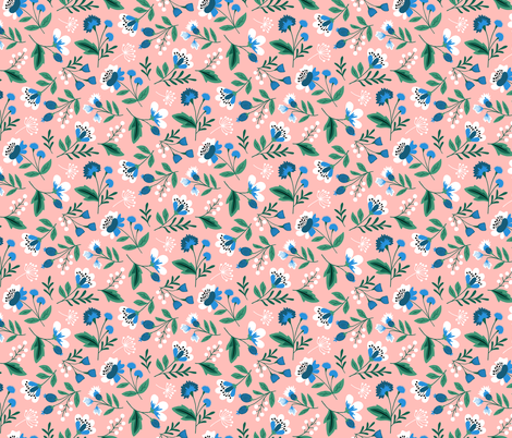 Small colorful spring flowers blue on pink fabric by heleen_vd_thillart on Spoonflower - custom fabric