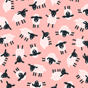 Little ditsy sheep baby pink