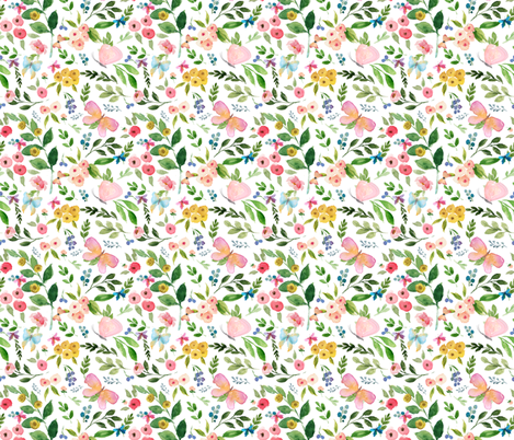 """10.5"""" Butterfly World / White fabric by shopcabin on Spoonflower - custom fabric"""