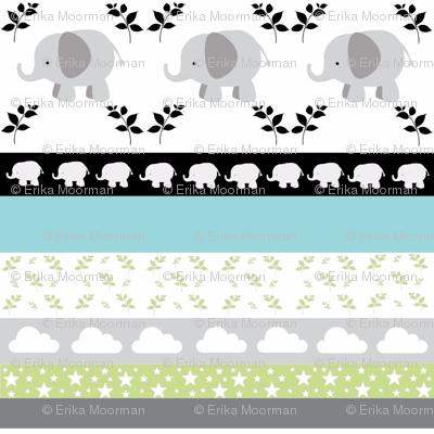 Gray Elephant YaYa quilt gray mint