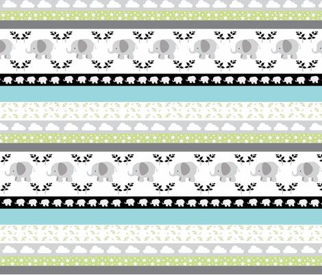 Gray Elephant YaYa quilt gray mint fabric by drapestudio on Spoonflower - custom fabric