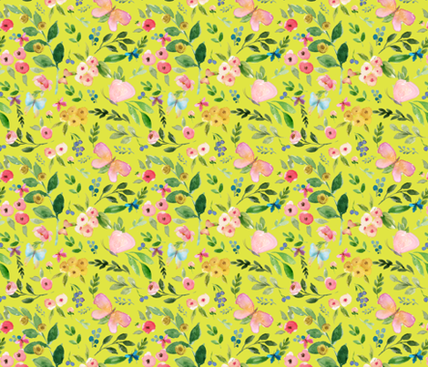 """7"""" Butterfly World / Bright Yellow fabric by shopcabin on Spoonflower - custom fabric"""
