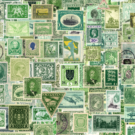 green postage stamp collage, seamless repeat fabric by weavingmajor on Spoonflower - custom fabric