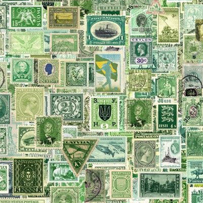 green postage stamp collage, seamless repeat