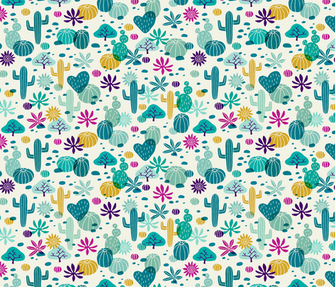 Llama cactus desert turquoise/purple fabric by heleen_vd_thillart on Spoonflower - custom fabric