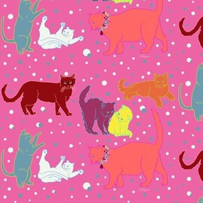 Cats Kittens  in Hot Pink by Salzanos