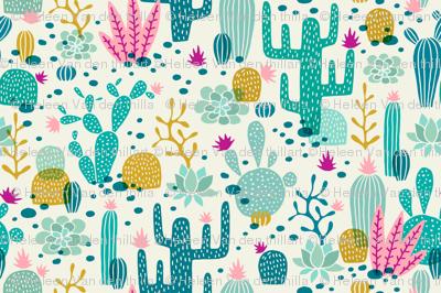 Wolf cactus desert turquoise/pink