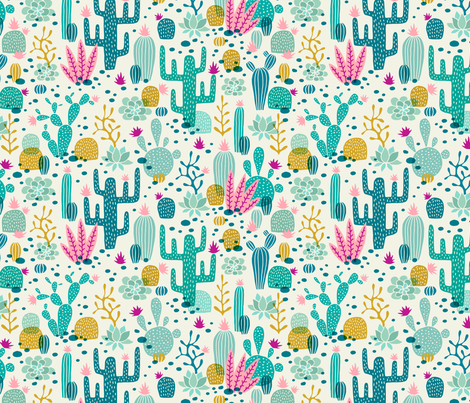 Wolf cactus desert turquoise/pink fabric by heleen_vd_thillart on Spoonflower - custom fabric