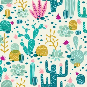 Wolf cactus desert turquoise/pink
