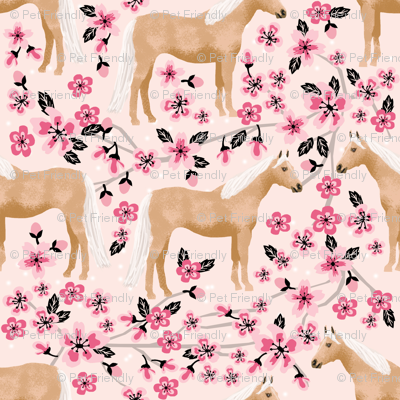 Palomino Horse fabric horses cherry blossom florals light pink