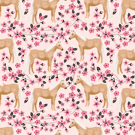 Palomino Horse fabric horses cherry blossom florals light pink fabric by petfriendly on Spoonflower - custom fabric