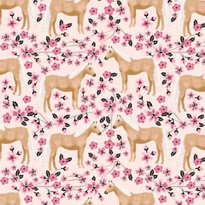 Palomino Horse fabric horses cherry blossom florals light pink