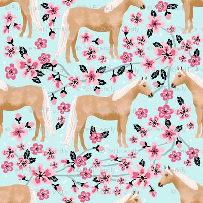Palomino Horse fabric horses cherry blossom florals light blue