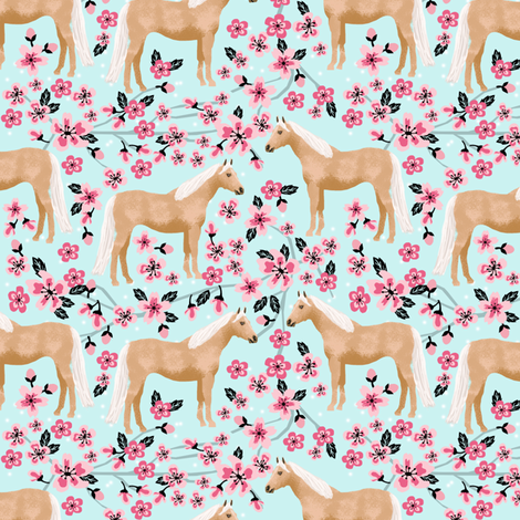 Palomino Horse fabric horses cherry blossom florals light blue fabric by petfriendly on Spoonflower - custom fabric