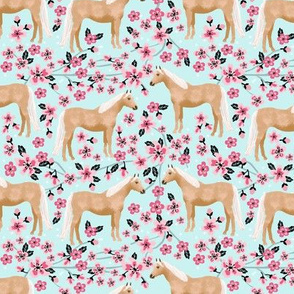 Palomino Horse fabric horses cherry blossom florals light blue