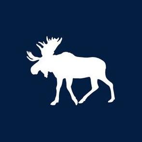"6"" Quilt Block - Moose on Navy"