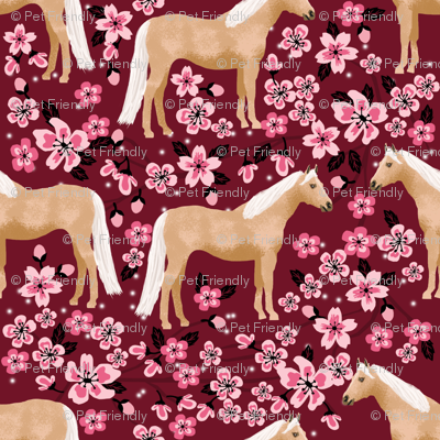 Palomino Horse fabric horses cherry blossom florals ruby