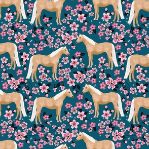 Palomino Horse fabric horses cherry blossom florals sapphire