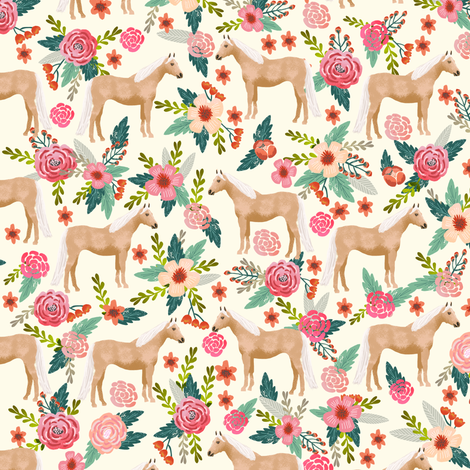 Palomino Horse fabric florals horses cream fabric by petfriendly on Spoonflower - custom fabric