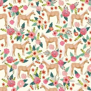 Palomino Horse fabric florals horses cream