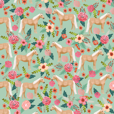 Palomino Horse fabric florals horses mint fabric by petfriendly on Spoonflower - custom fabric
