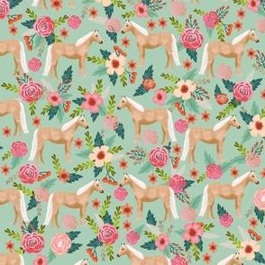 Palomino Horse fabric florals horses mint