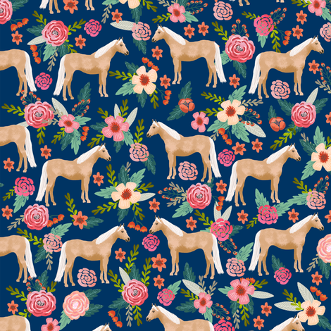 Palomino Horse fabric florals horses navy fabric by petfriendly on Spoonflower - custom fabric