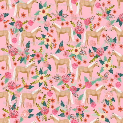 Palomino Horse fabric florals horses pink