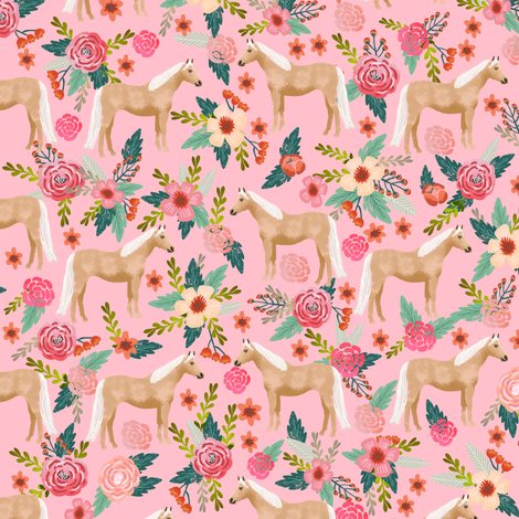 Palomino Horse fabric florals horses pink fabric by petfriendly on Spoonflower - custom fabric