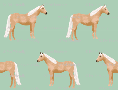 Palomino Horse fabric simple mint