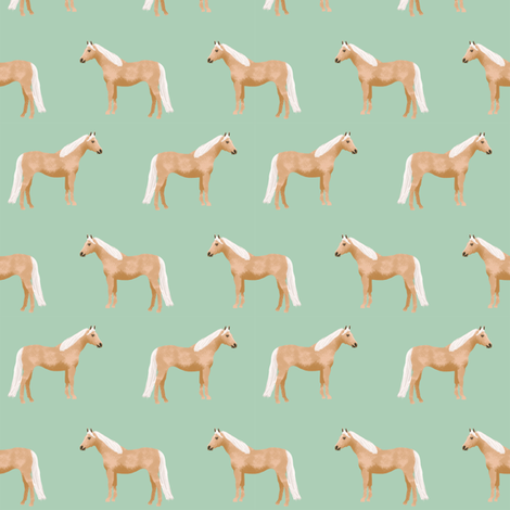 Palomino Horse fabric simple mint fabric by petfriendly on Spoonflower - custom fabric