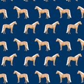 Palomino Horse fabric simple navy