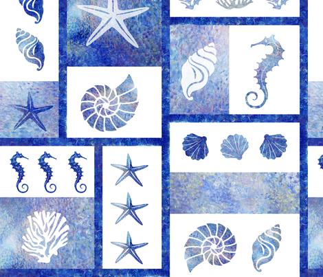 coral reef mosaic in blue fabric by fibracreativa on Spoonflower - custom fabric