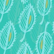 Feathered Leaves Teal