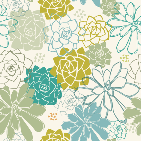 Succulents Hen & Chicks fabric by teresamagnuson on Spoonflower - custom fabric