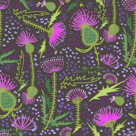 Thistle Patch Spring Meadow fabric by teresamagnuson on Spoonflower - custom fabric